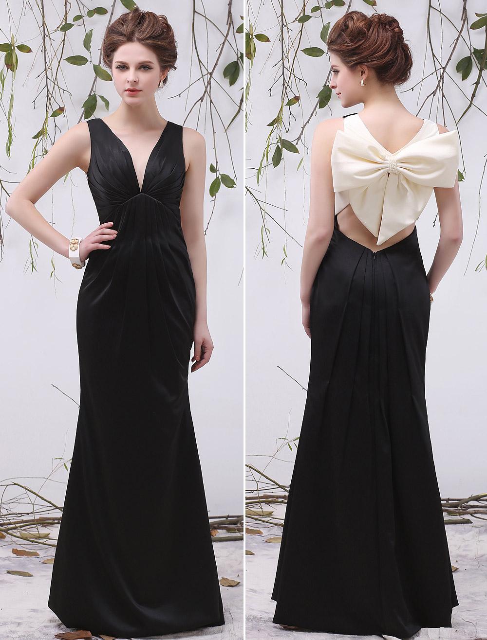 Black Cut Out V-Neck Bow Mermaid Satin Unique Evening Dress For Women  Milanoo