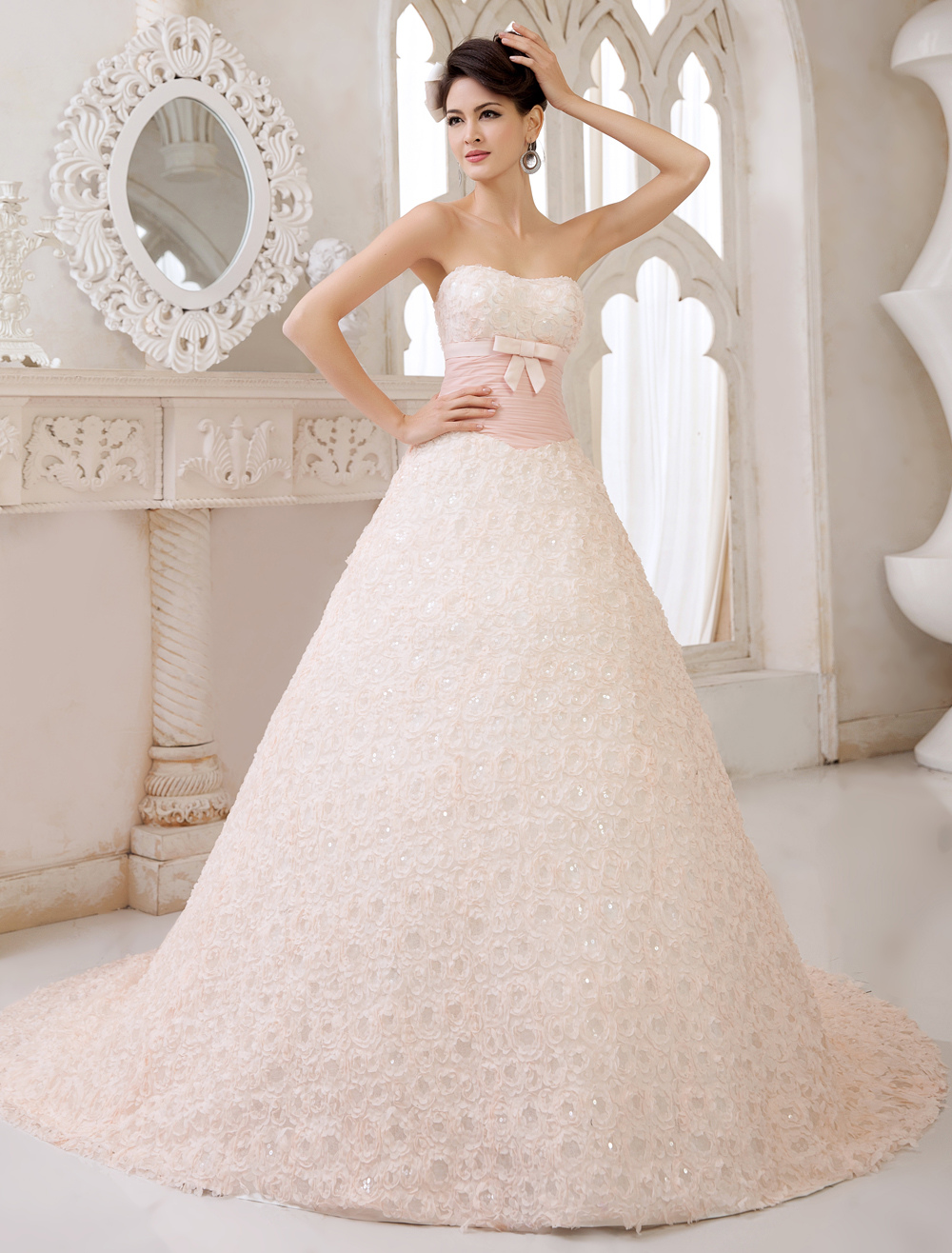 Pink Tulle Sweet Heart Floral Bow A-line Wedding Dress Milanoo