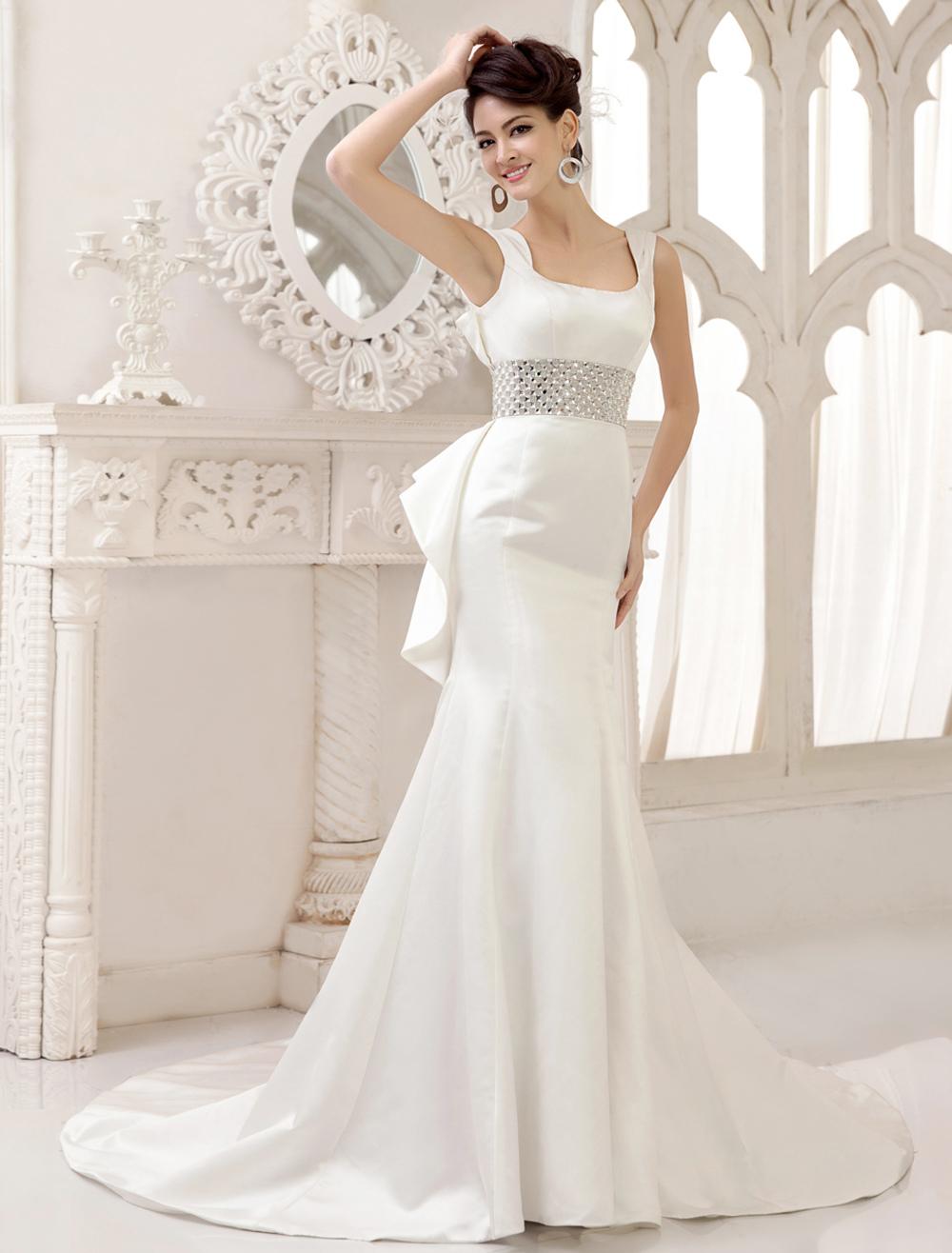 Ivory Satin Square Neck Mermaid Trumpet Wedding Dress Milanoo