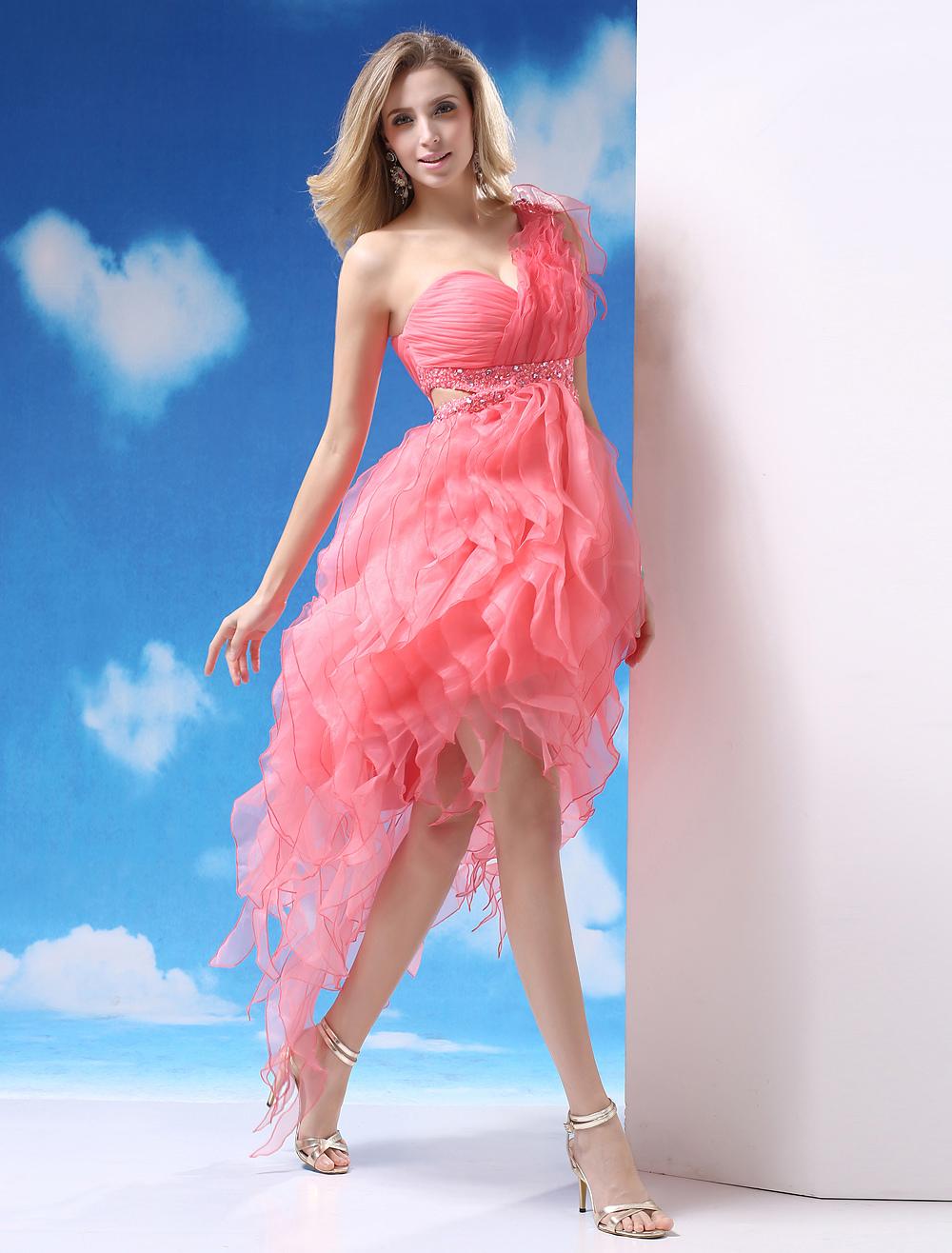 vestidos de gala de organza Rosado naranja con escote a un solo ...