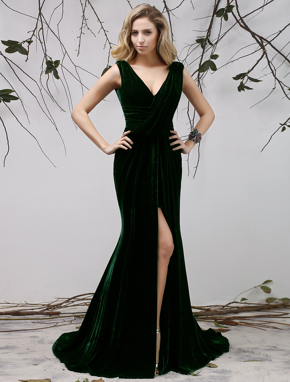 Dark Green V-Neck Pleated Mermaid Sleeveless Velvet Evening Dress  Wedding Guest Dress Milanoo