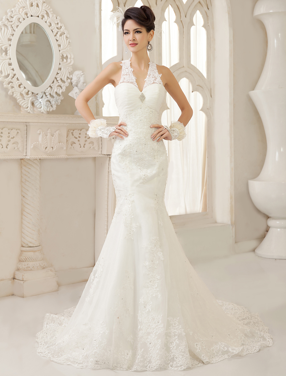 White Mermaid V-Neck Ruched Court Train Wedding Dress For Bride  Milanoo