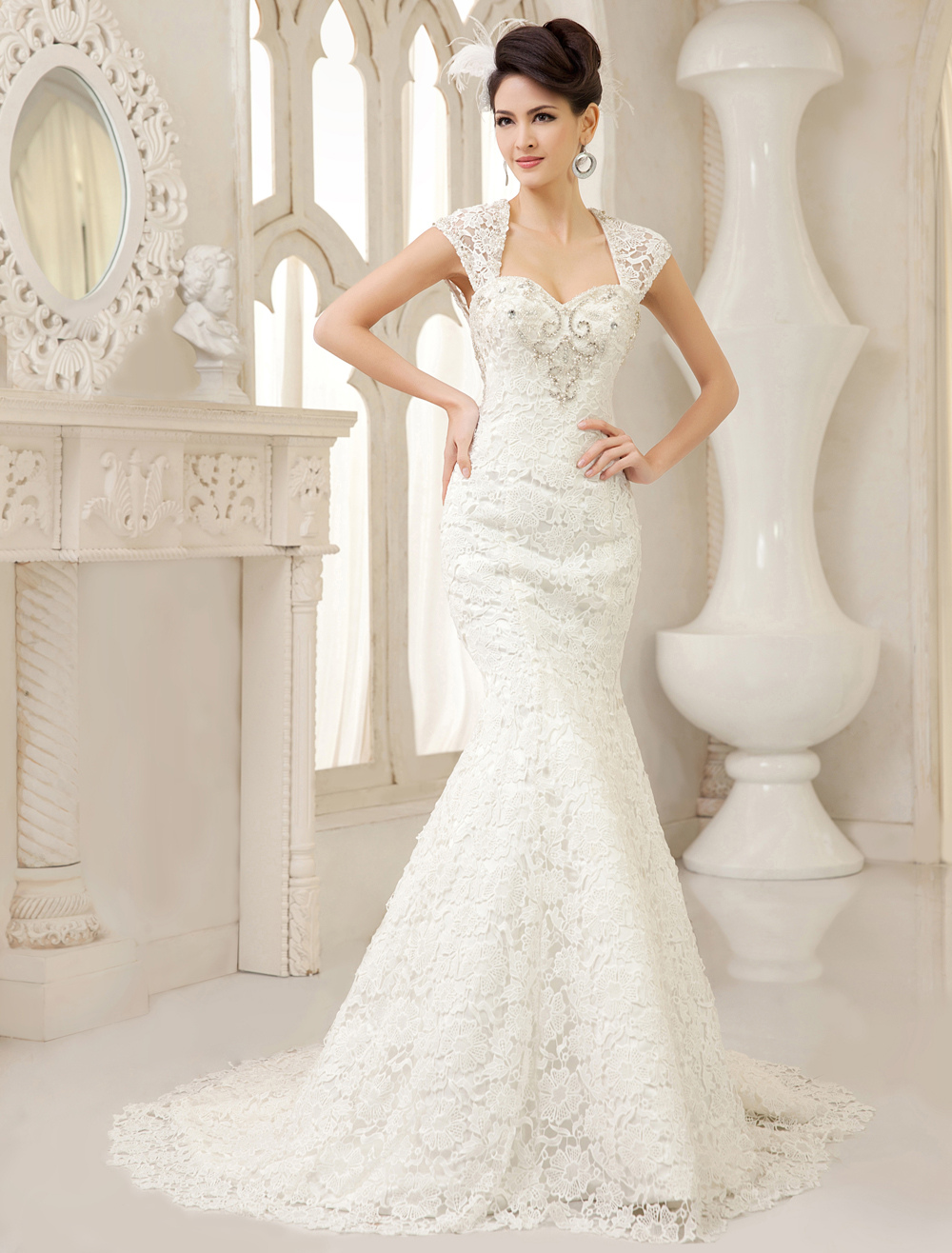 White Mermaid Queen Anne Neck Pearls Sweep Lace Bridal Wedding Gown  Milanoo