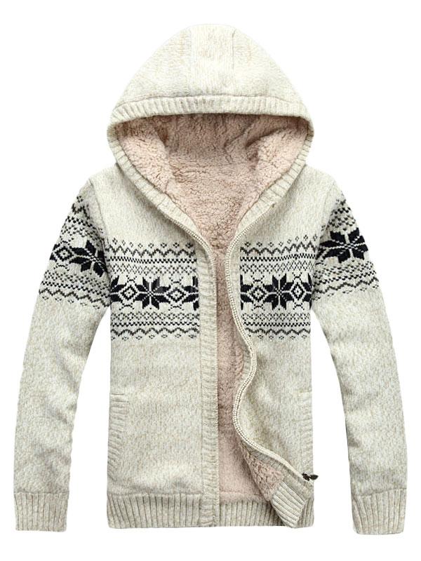 Glamour Navidad patrón con capucha de lana chaqueta para los hombres ...