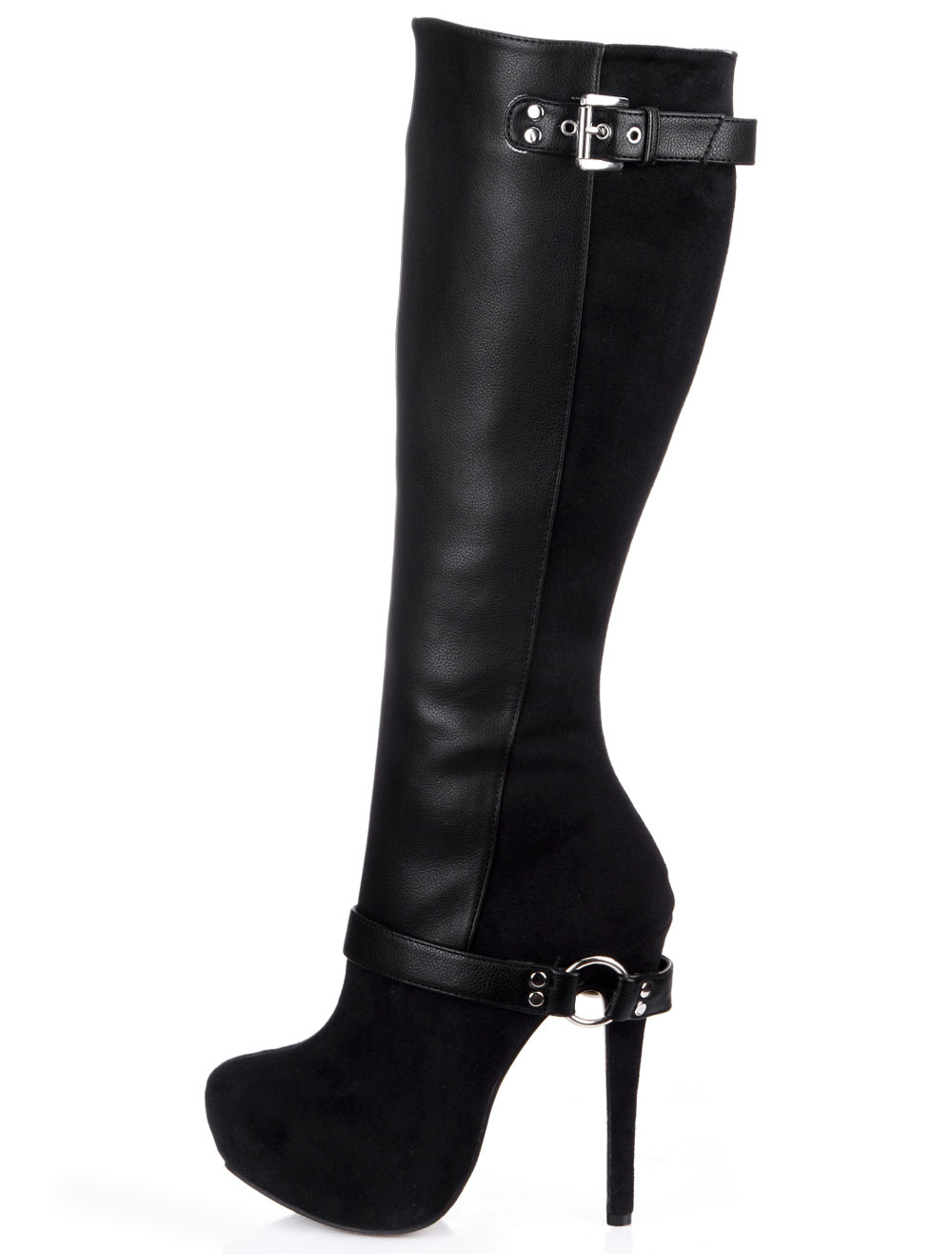Black Almond Toe Stiletto Heel Zipper PU Leather Attractive Women's Knee Length Boots