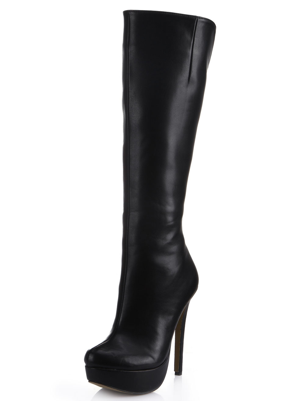 Charming Black Almond Toe Stiletto Heel PU Leather Women's Knee Length Boots