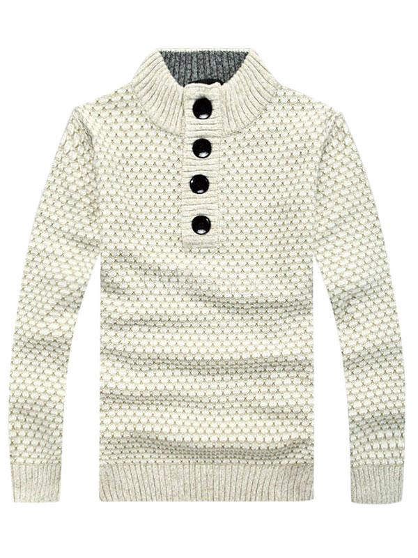 ... Soporte cuello mangas largas Color sólido de lana estilo británico  Pullover géneros de punto para hombres ... d2634740f434