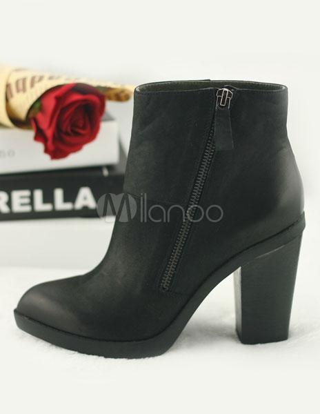 schicke ankle boots aus rindleder mit blockabsatz in. Black Bedroom Furniture Sets. Home Design Ideas