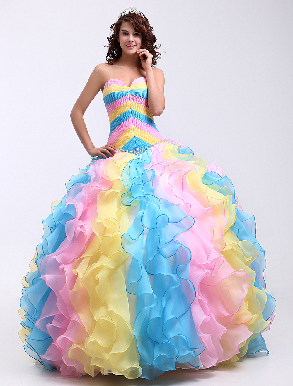 59d75635e Colorful Ball Gown Organza Sweetheart Quinceanera Dress Milanoo -  Milanoo.com