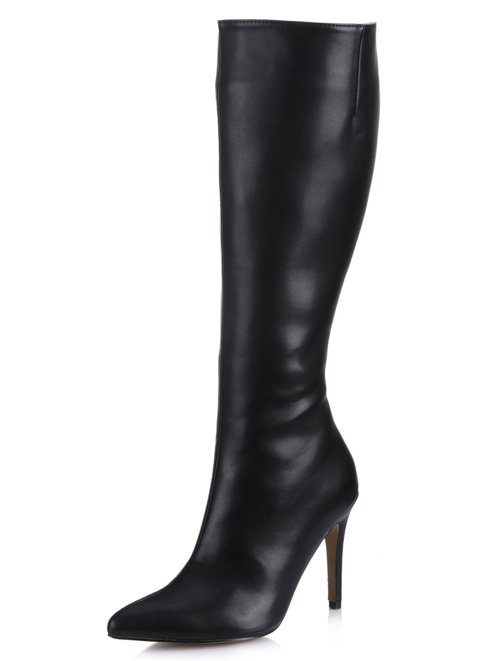 Black Pointed Toe Stiletto Heel Zipper PU Leather Stylish Knee Length Boots for Women