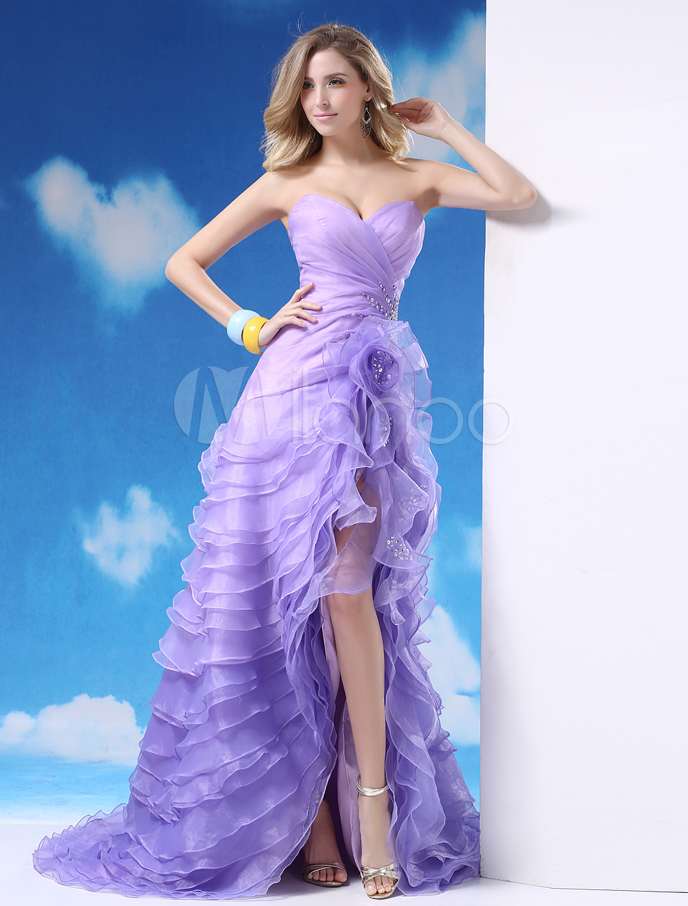 Lilac Evening Dress Sweetheart Flowers Beaded Prom Dress Organza Strapless Sleeveless Asymmetrical Party Dress Milanoo