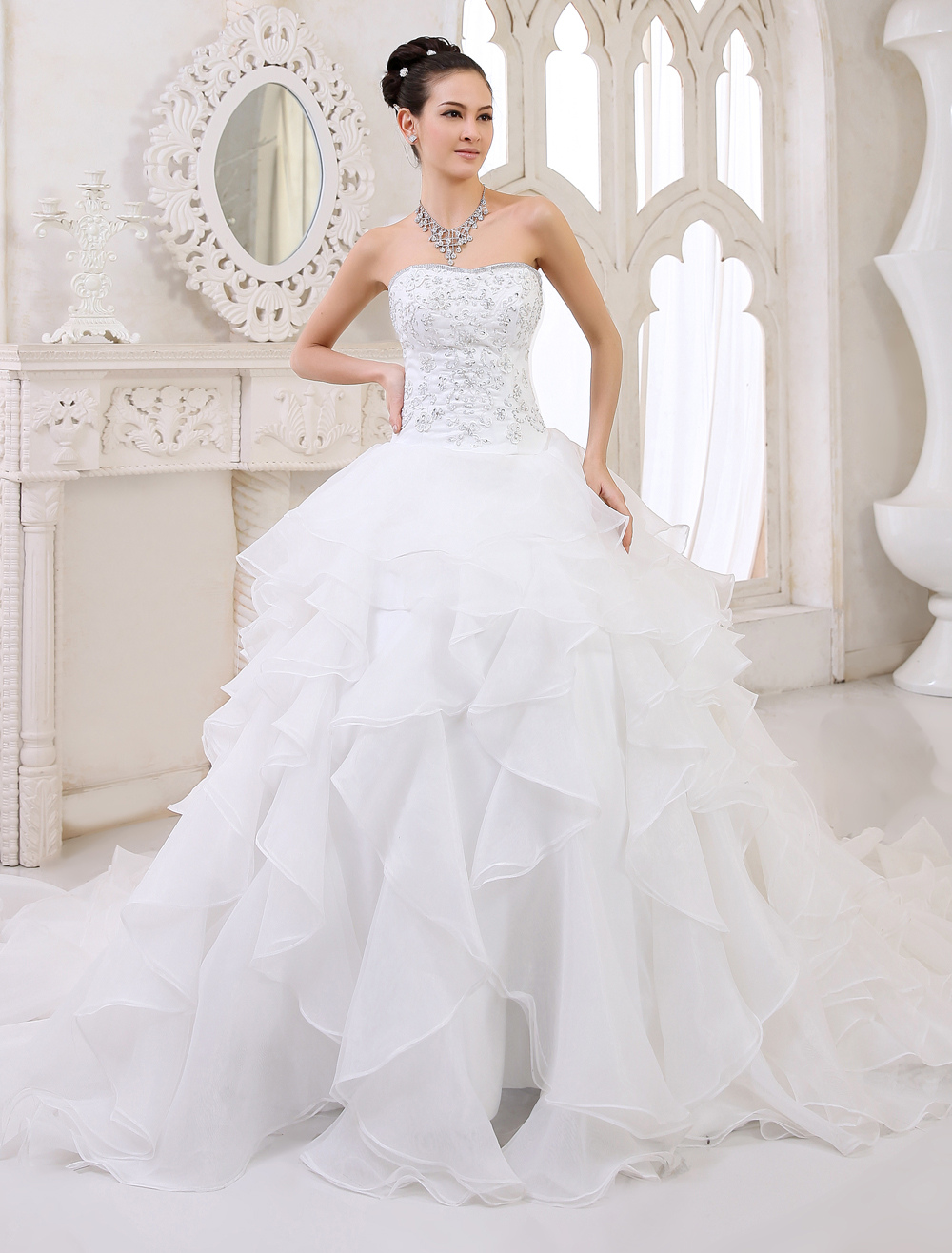 Ivory Wedding Dress Tiered Strapless Lace Up Rhinestone Wedding