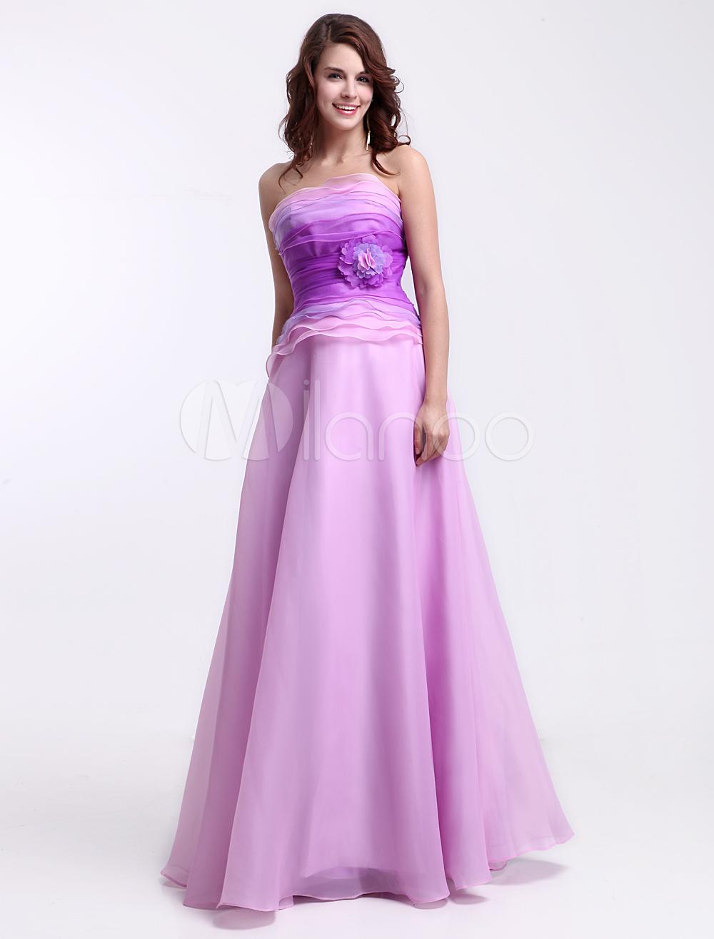 vestidos de gala de organza Rosa púrpura con escote palabra de honor ...