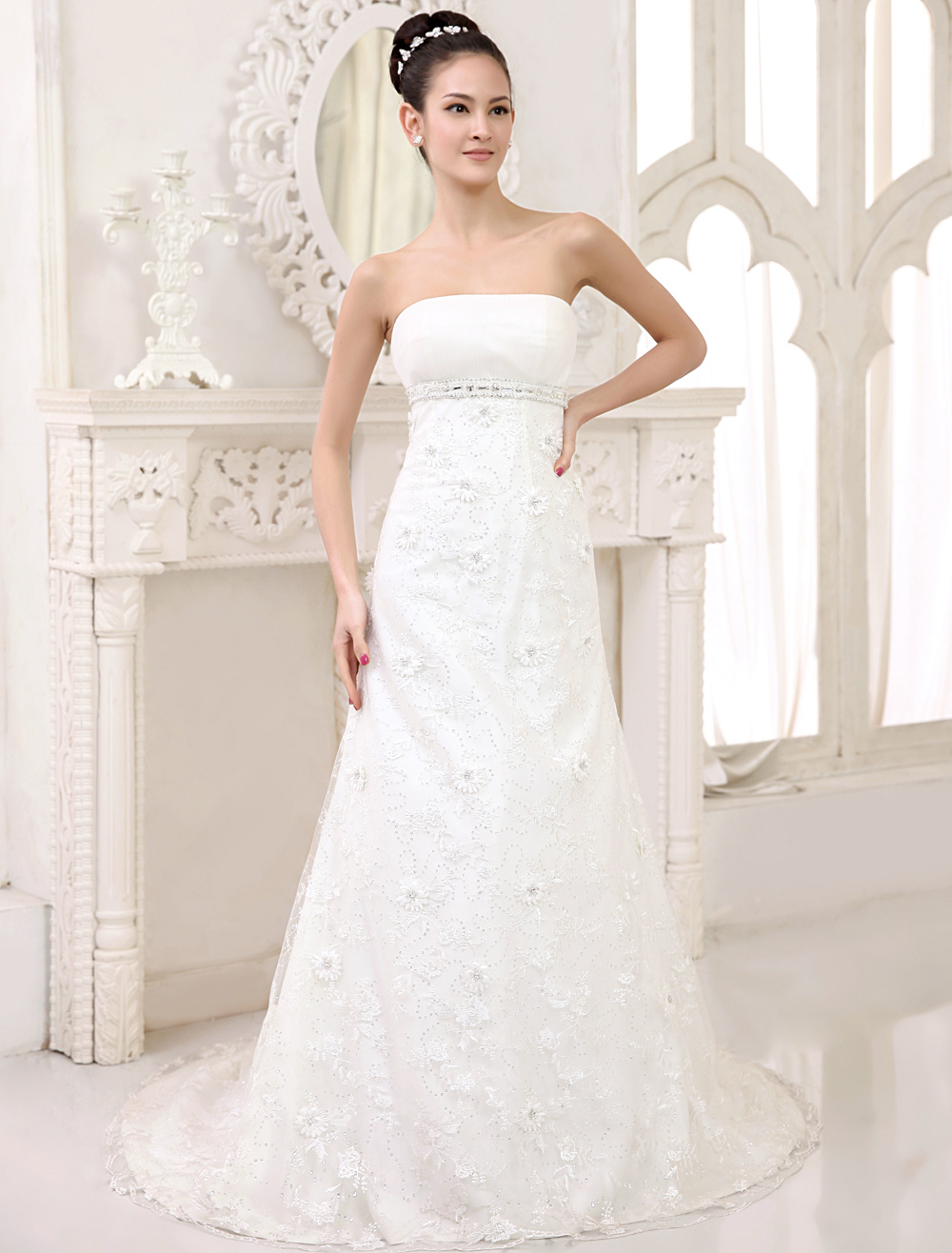 Ivory A-line Strapless Lace Court Train Lace Brides Wedding Dress