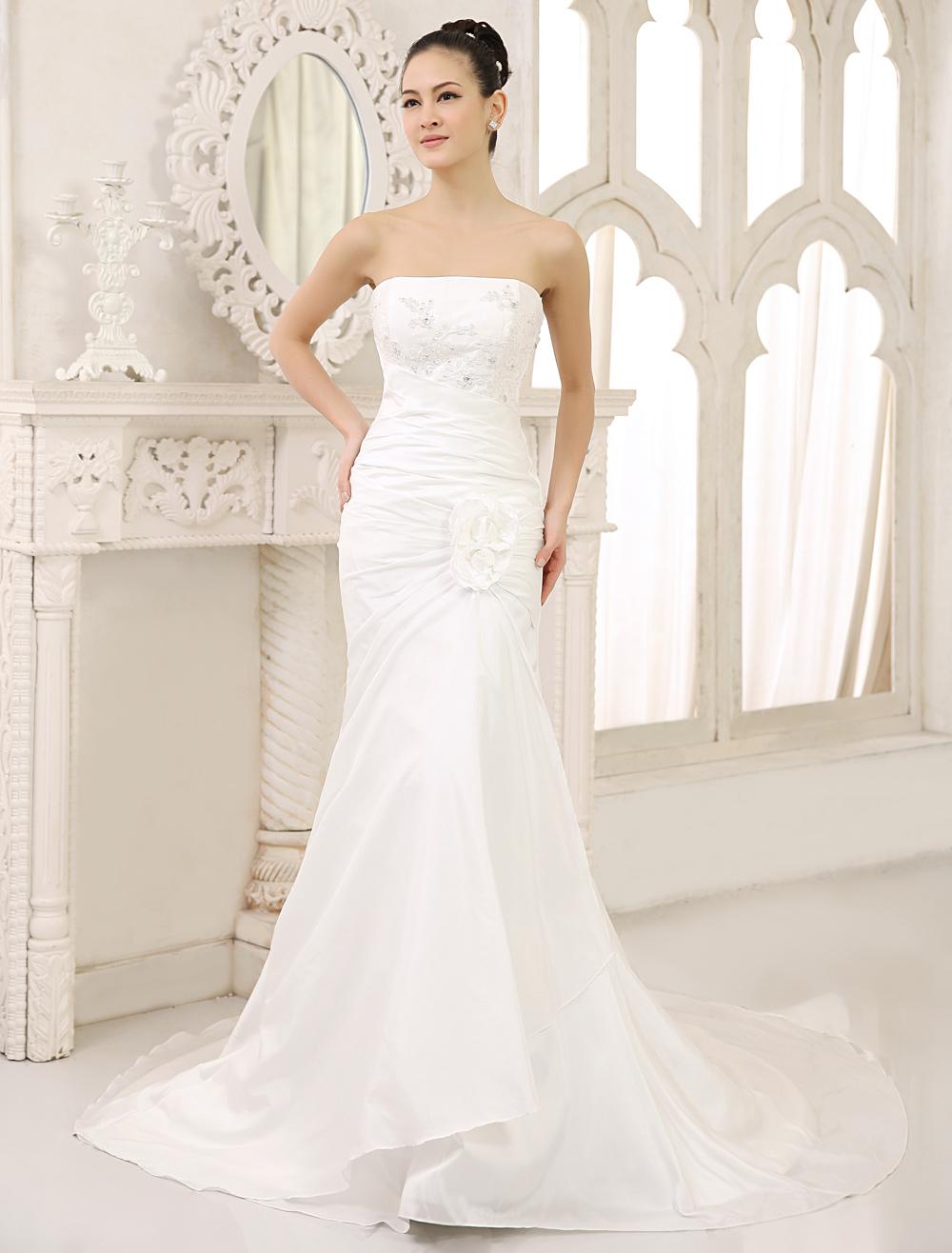 Ivory Mermaid Strapless Flower Sweep Wedding Dress For Bride Milanoo