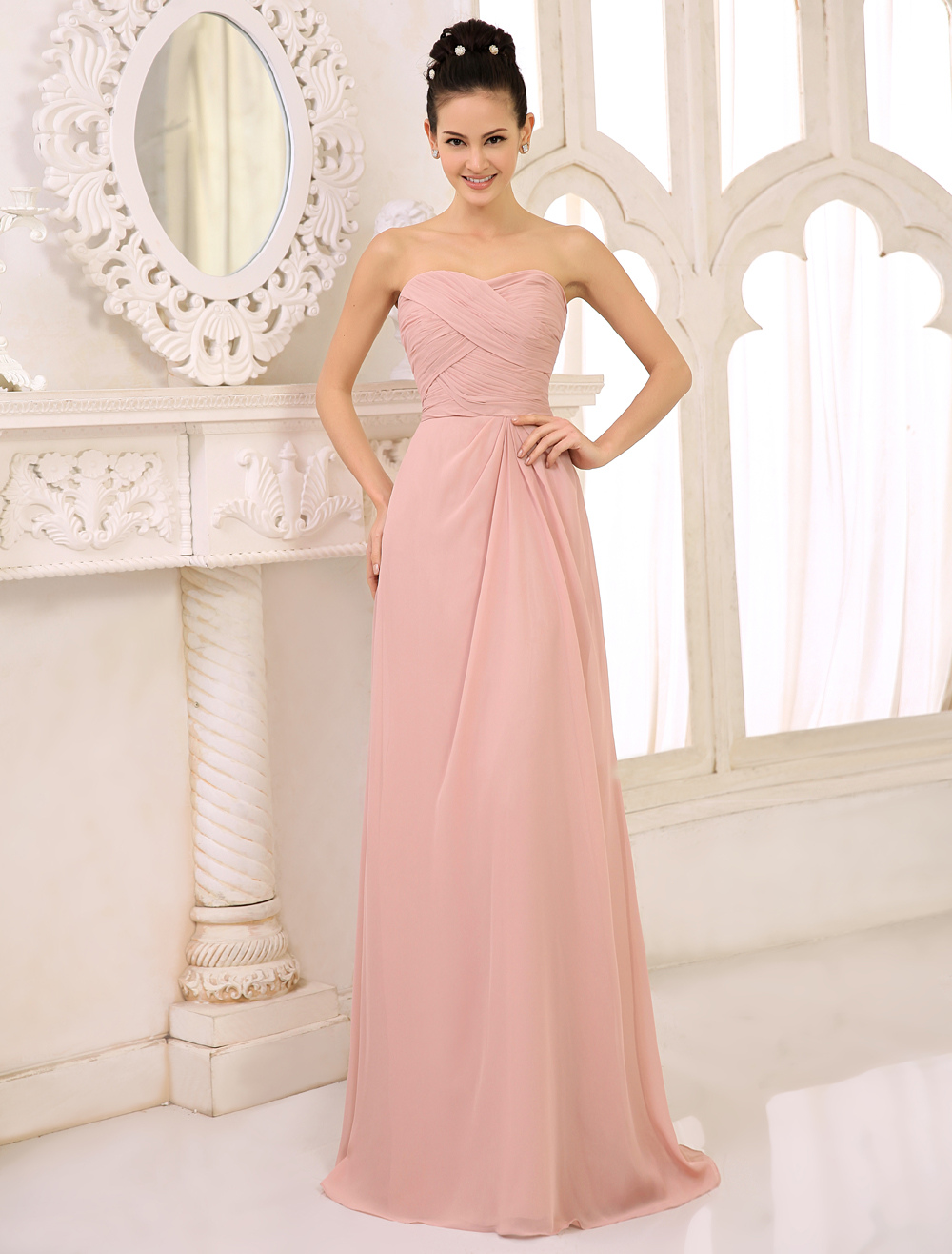 Bridesmaid Dresses Long Blush Pink Strapless Wedding Party Dress Pleated Floor Length Evening Gowns