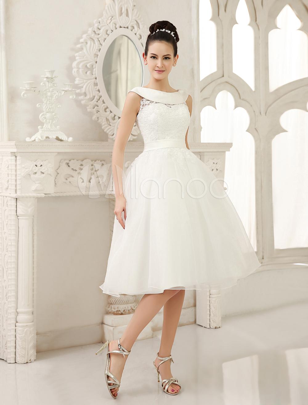 Ivory Knee Length Wedding Dress Cut Out Sash Lace Wedding