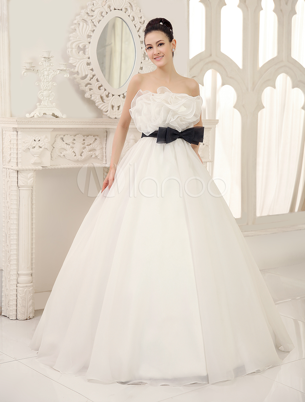 Ivory Ball Gown Wedding Dress with Black Sash and Strapless Bow