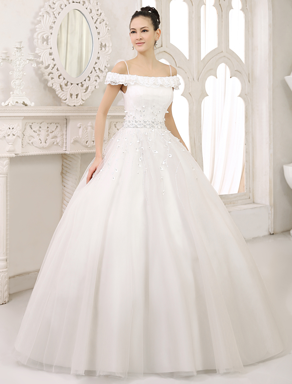 Glamorous Floor-Length Ivory Lace Ball Gown Wedding Dress For Bride with Off-The-Shoulder Spaghetti Strap Tulle