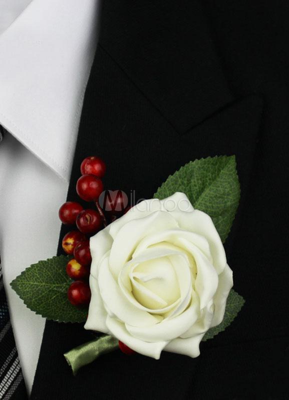 Polyester Fiber White Classic Bridegroom's Flowers for Wedding