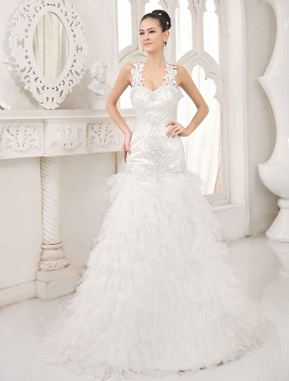 Buy Vintage Ivory Mermaid Halter Tiered Court Train Brides Wedding Dress for $359.99 in Milanoo store