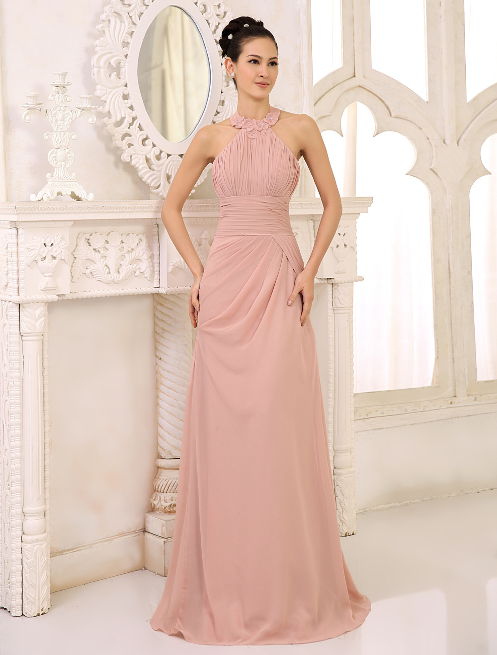 Blush Pink Bridesmaid Dresses Long Halter Chiffon Pleated Draped Floor Length Wedding Party Dresses