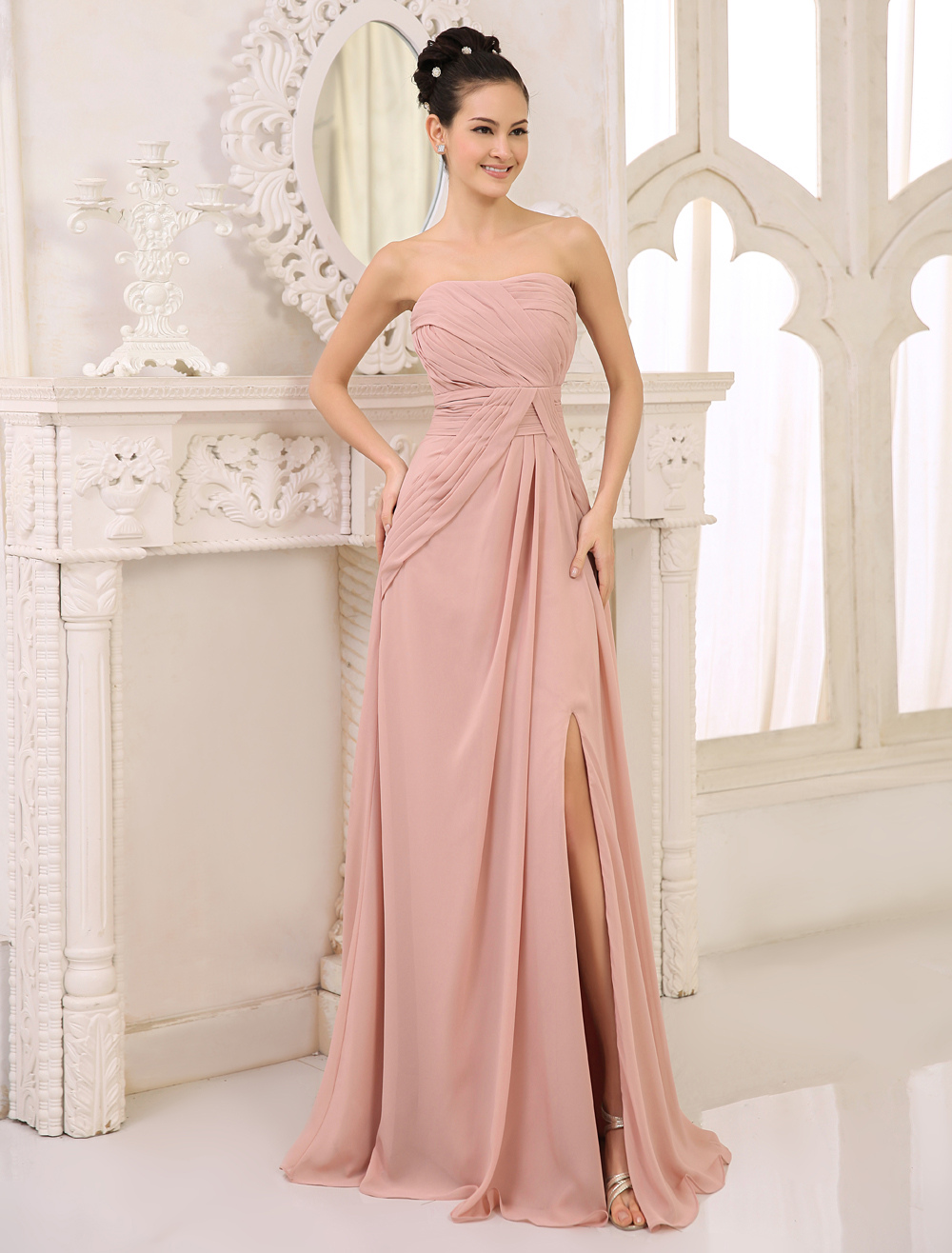 Buy Chiffon Bridesmaid Dress Blush Pink Ruched Prom Dress Strapless Sleeveless High Split Floor Length Wedding Party Dress for $109.24 in Milanoo store