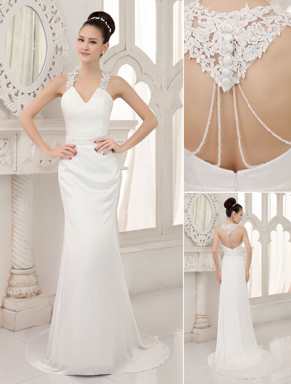 Ivory V Neck Backless Sequied Satin Pearl Mermaid Wedding Reception Dress Milanoo