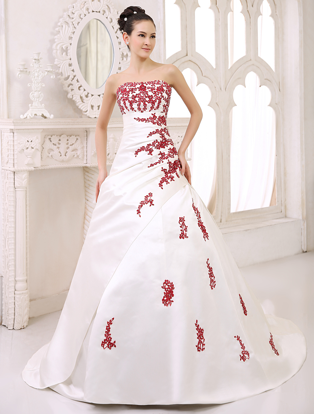 Court Train Ivory Ball Gown Wedding Dress For Bride with Strapless Sequin  Milanoo