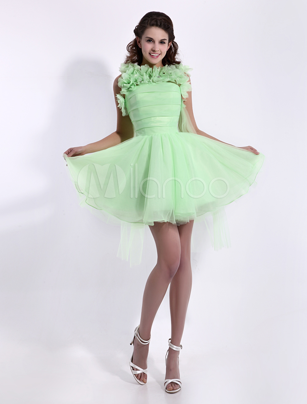 Lime Green Flower A-line Short Prom Dress with Jewel Neck Organza  Milanoo