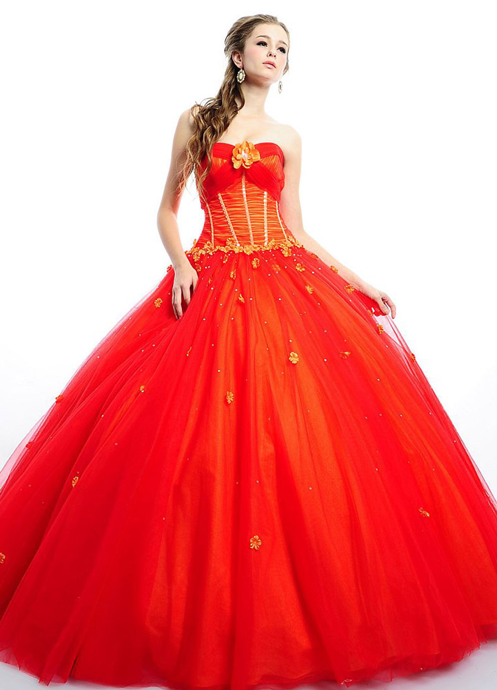 Orange Ball Gown Sweetheart Neck Floor-Length Quinceanera Dress ...