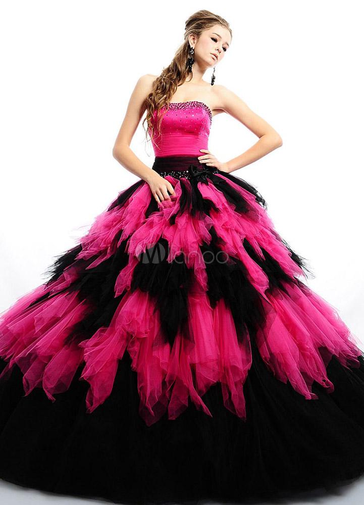 buy popular acd74 ce015 Vestito festa 18 anni fucsia elegante da ballo con maniche corte senza  spalline con pieghettature in tulle a terra