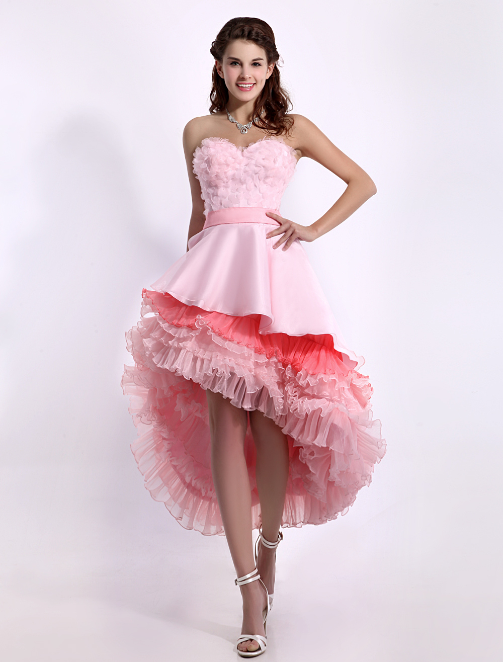 Glamour Pink Sweetheart Asymmetrical Hemline Tiered A-line Prom Dress  Milanoo