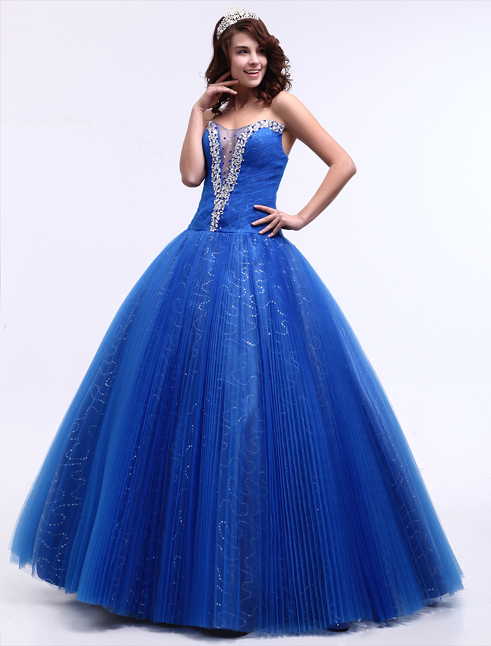 Blue Wedding Dress Sweetheart Floor-Length Ball Gown Princess Bridal Gown Sequin Pageant Dress Milanoo