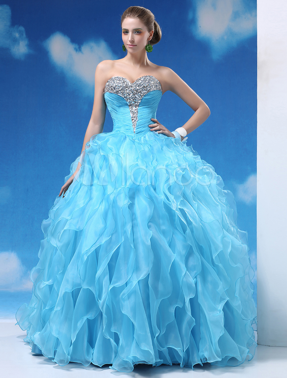 Light Sky Blue Ball Gown Floor-Length Quinceanera Dress with Sweetheart Neck  Milanoo