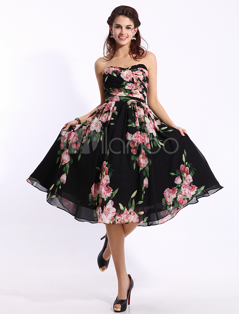 7f9dd16a656e Black Floral Print Dress In Knee Length Inspired by Ariana Grande at the  Grammys 2014 - Milanoo.com