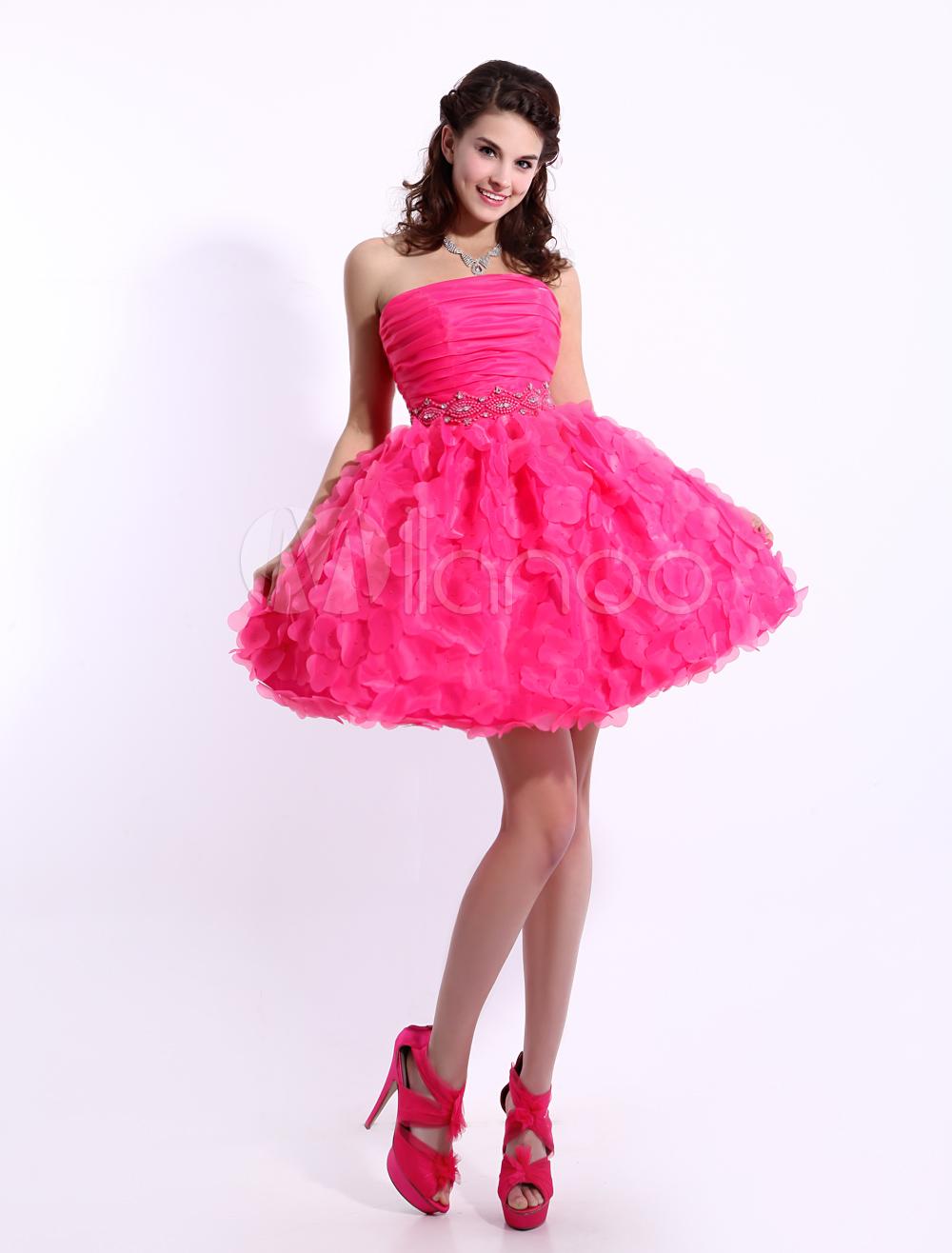Fuchsia Strapless Mini Homecoming Dress with Ruffled Skirt - Milanoo.com