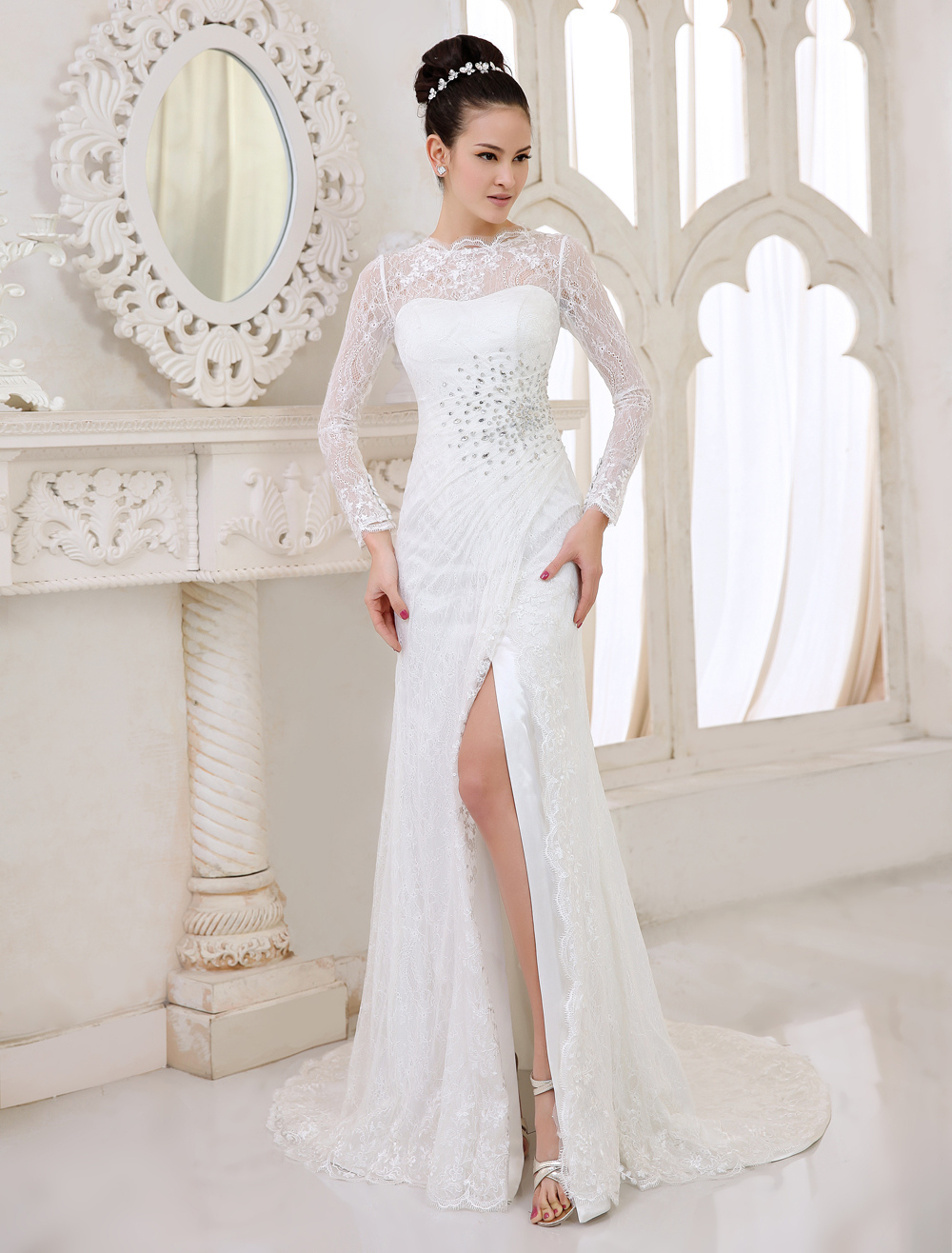 Ivory Sheath Jewel Neck Split Front Sweep Bridal Wedding Dress  Milanoo