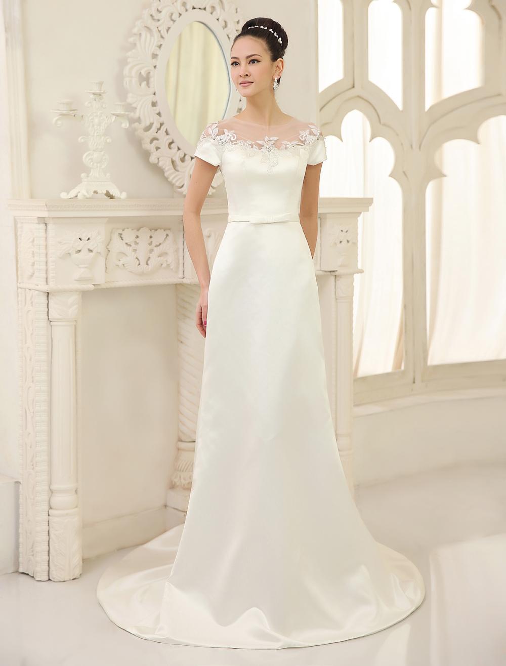 Ivory Sheath Jewel Neck Bow Court Train Satin Wedding Dress For Bride  Milanoo