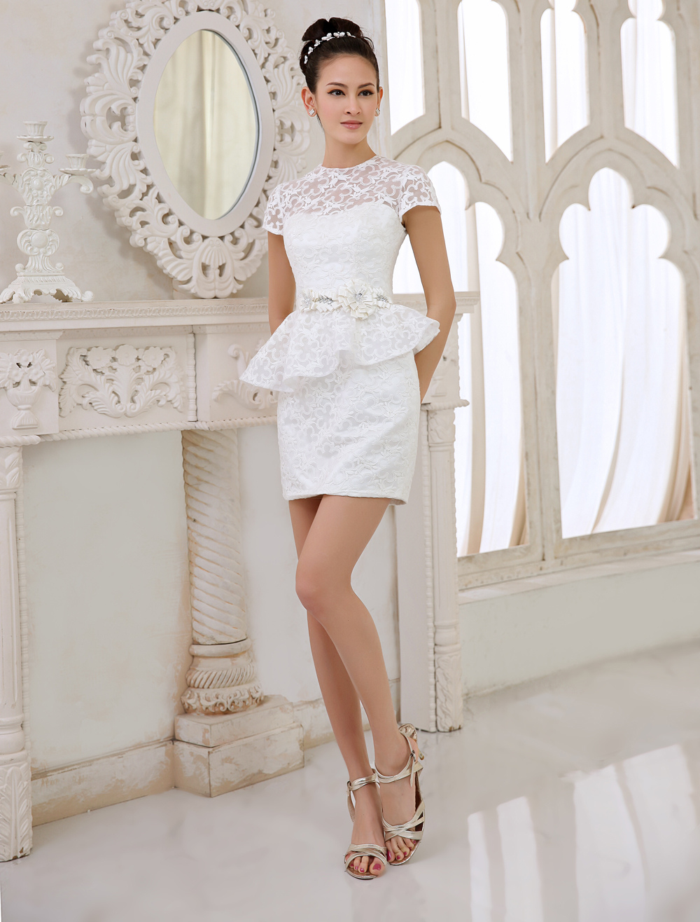 Short wedding dresses in color - Ivory Bridal People Short Wedding Dress With Jewel Neck Sheath Milanoo Milanoo Com