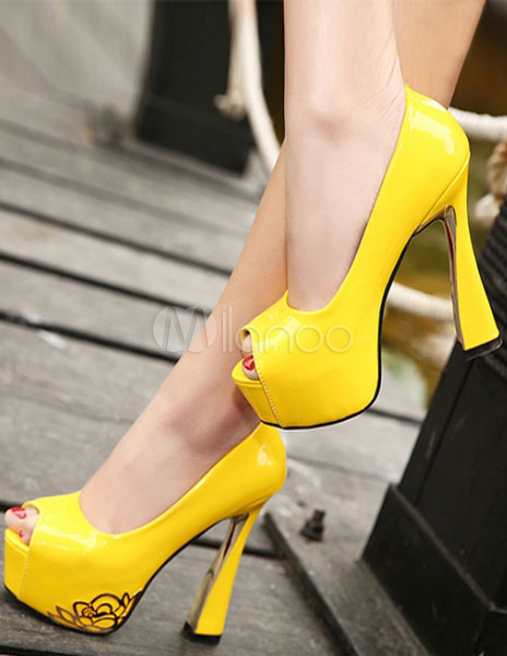 Scarpe Da Sposa Gialle.Scarpe Con La Punta Aperta Chic Moderne Gialle Con Tacco Da 13 5cm