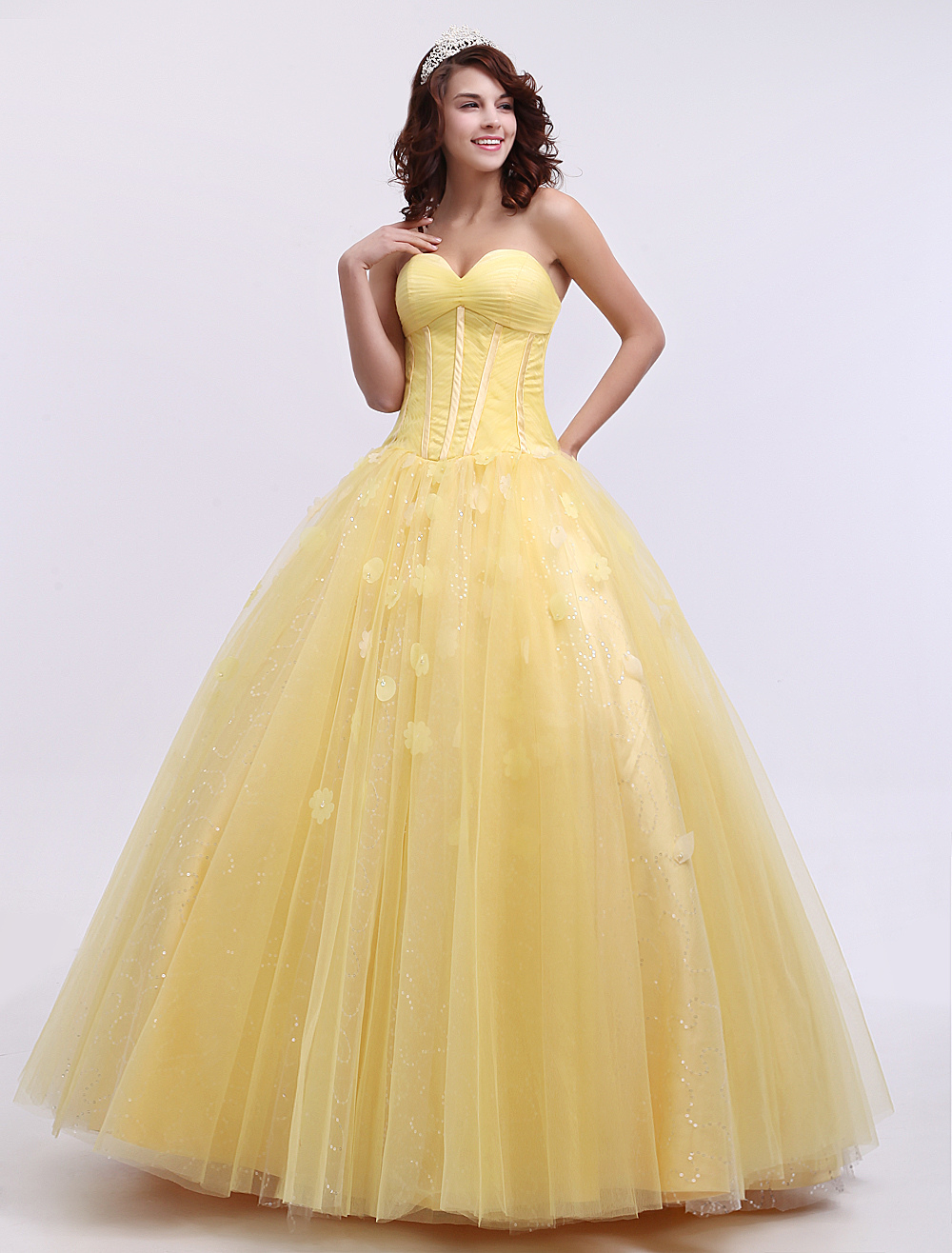 Sweet Ball Gown Strapless Daffodil Tulle Quinceanera Dress Milanoo