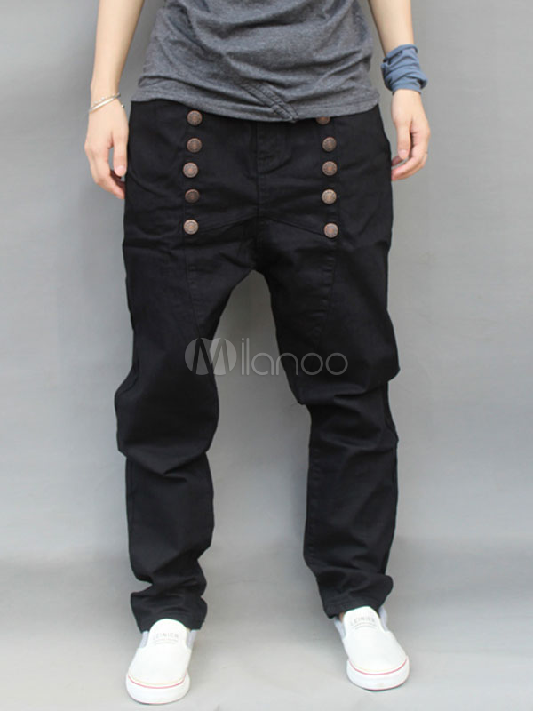 Hip Hop Style Black Denim Cloth Mens Harem Pants