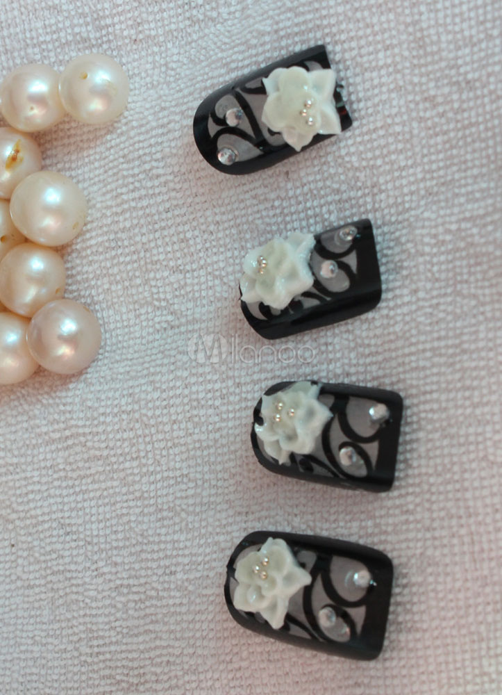 schwarz blume stieg muster 12 teilig harz chic acryl nagel tips no2 - Acrylnagel Muster