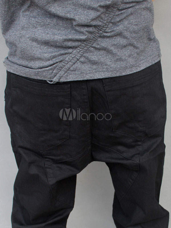 Hip Hop Style Black Denim Cloth Mens Harem Pants Milanoo Com