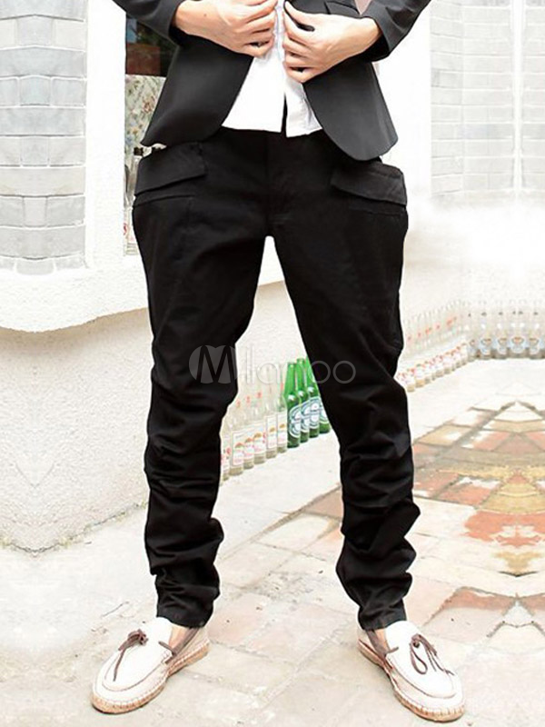 Black Pockets Solid Color Cotton Quality Mens Fashion Harem Pants