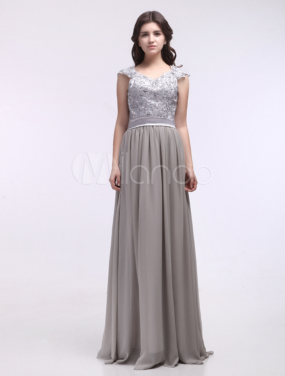 Silver A-line Off-The-Shoulder Sequin Chiffon Bridal Mother Dress