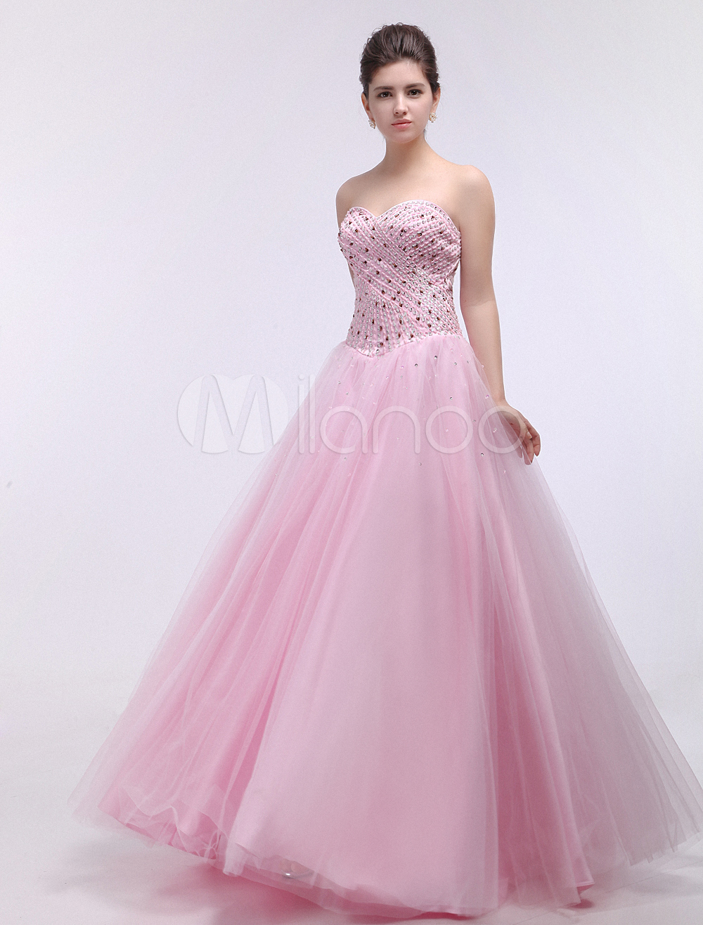 Modern Pink Sweetheart Strapless Sequin A-line Tulle Prom Dress