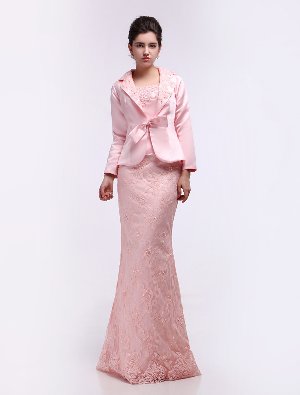 Pink Sheath Straps Neck Applique Mother of the Bride Dress
