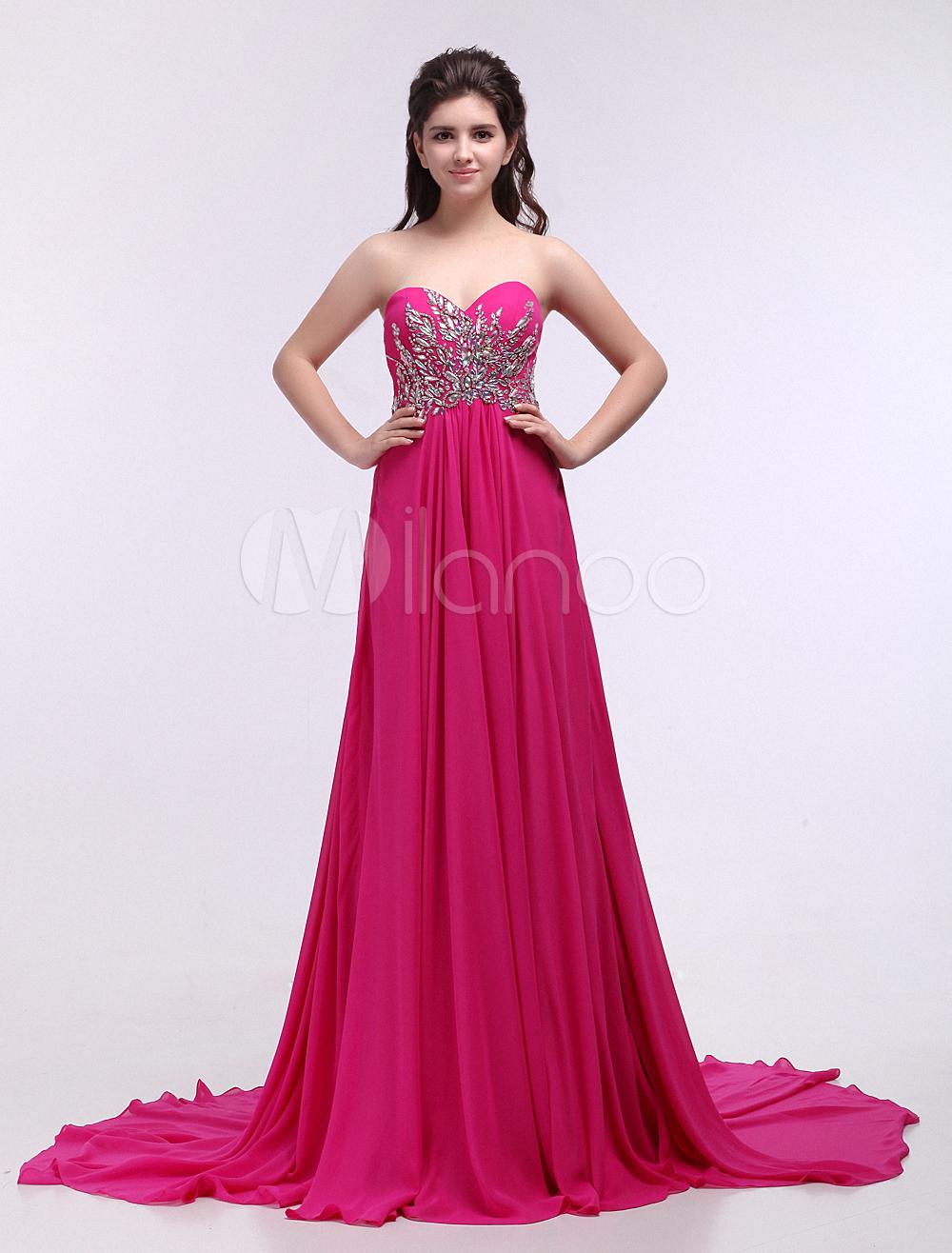 Vestido de noche de chifón Rosa caliente sin mangas con escote en ...